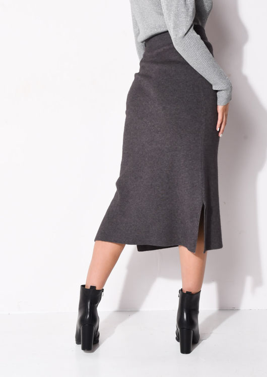 Tie Waist Knit Split Side Midi Skirt Charcoal Grey