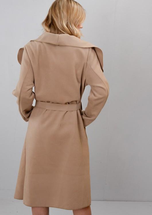 Tie Waist Long Waterfall Duster Coat Camel Brown