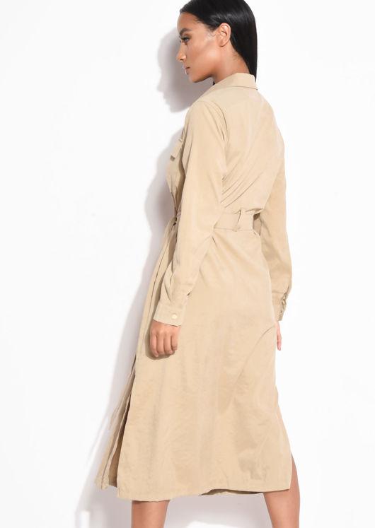 Tie Waist Longline Midi Shirt Dress Beige