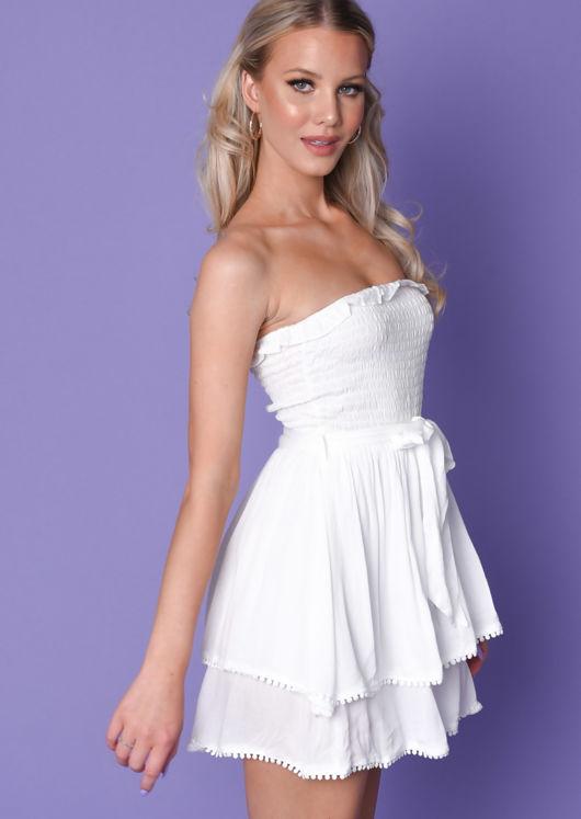 Tie Waist Shirred Strapless Playsuit White
