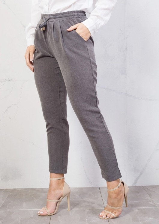 Tie Waist Tailored Fit Straight Trousers Grey