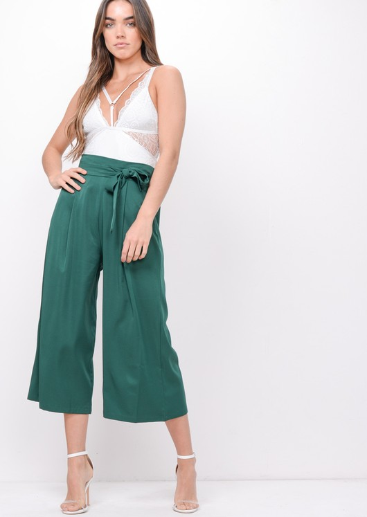 Tie Waist Wide Leg Culotte Trousers Green