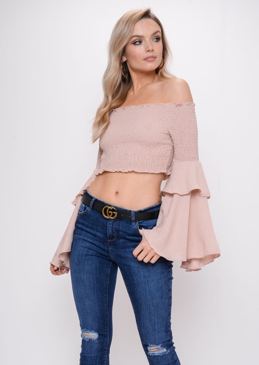 Tiered Frill Sleeve Bardot Crop Top Nude Pink