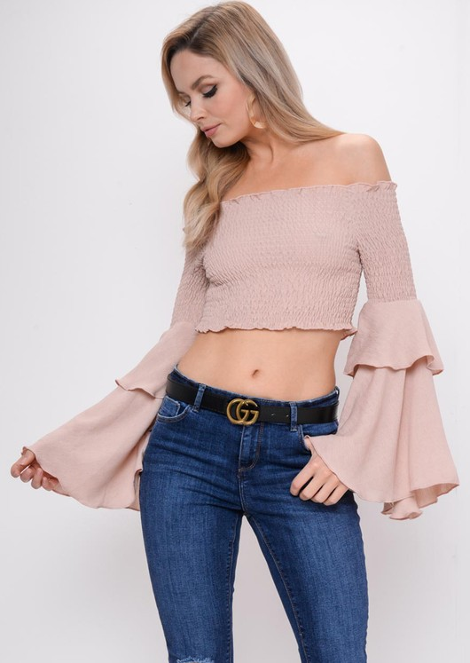 Tiered Frill Sleeve Bardot Crop Top Nude Pink