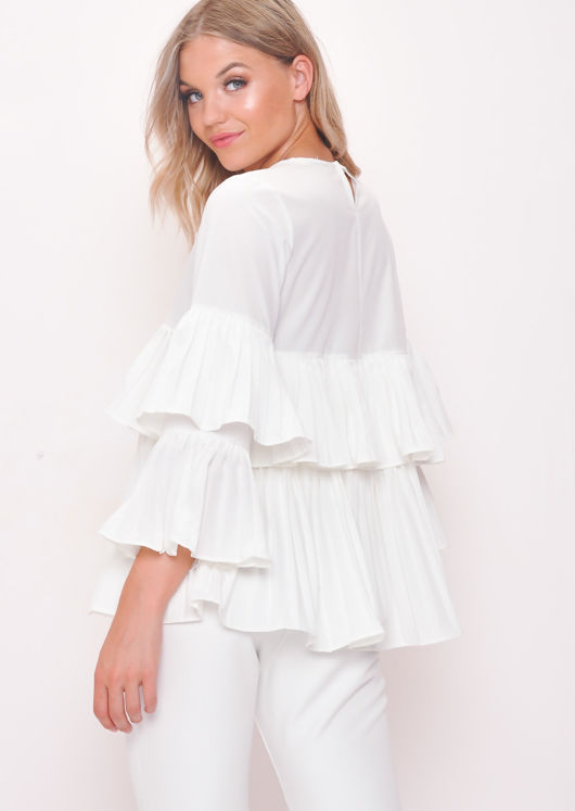 Tiered Ruffle Frill Blouse White