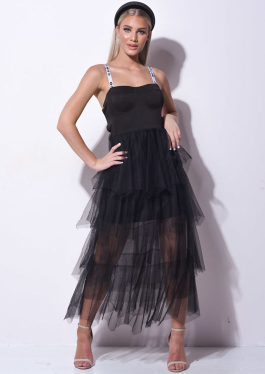 Tiered Tulle Cup Detail Midaxi Dress Black