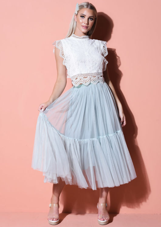 Tiered Tulle High Waisted Midi Skirt Green