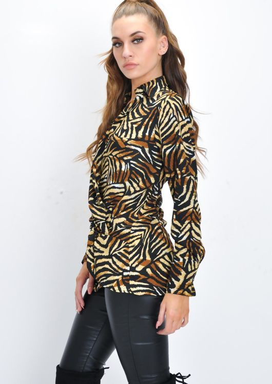 Tiger Print Wrap Front Twist Collar Blouse Multi