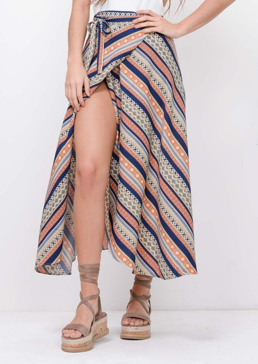 Tile Print Wrap Over Midi Skirt Multi