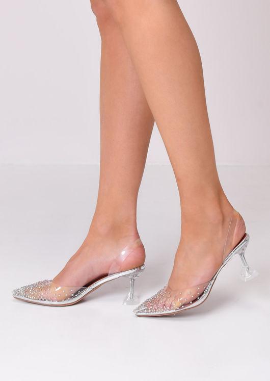 Transparent Perspex Sling Back Diamante Court Heels Silver