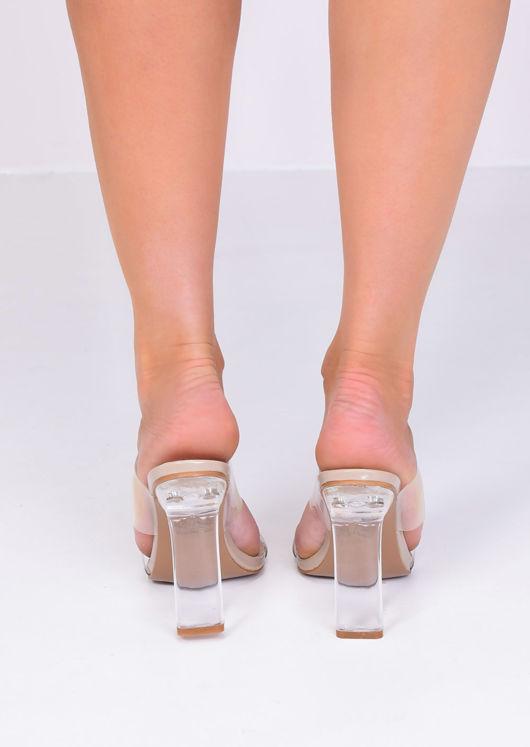 Transparent Perspex Slip On Mule Heels Beige