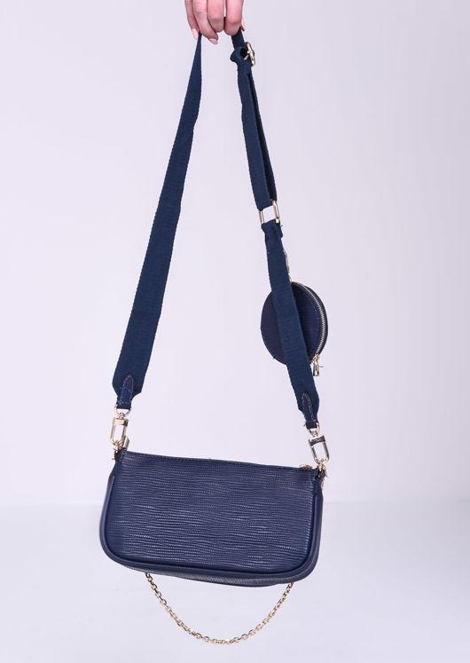 Trio Chain Cross Body Bag Navy Blue