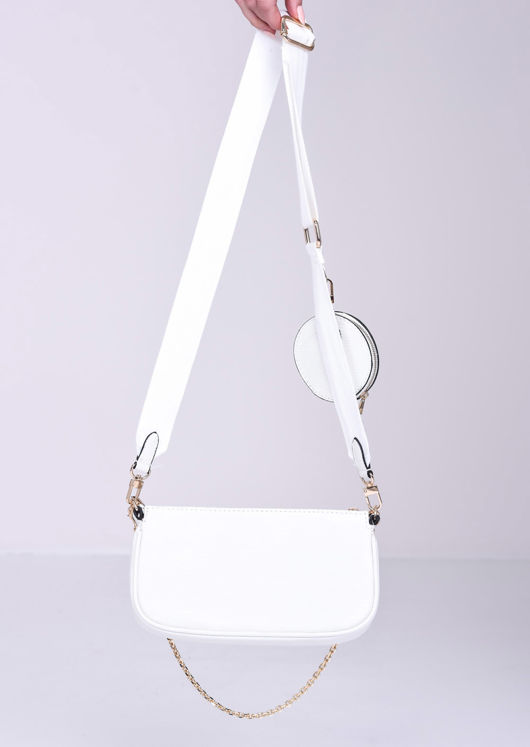 Trio Chain Cross Body Bag White