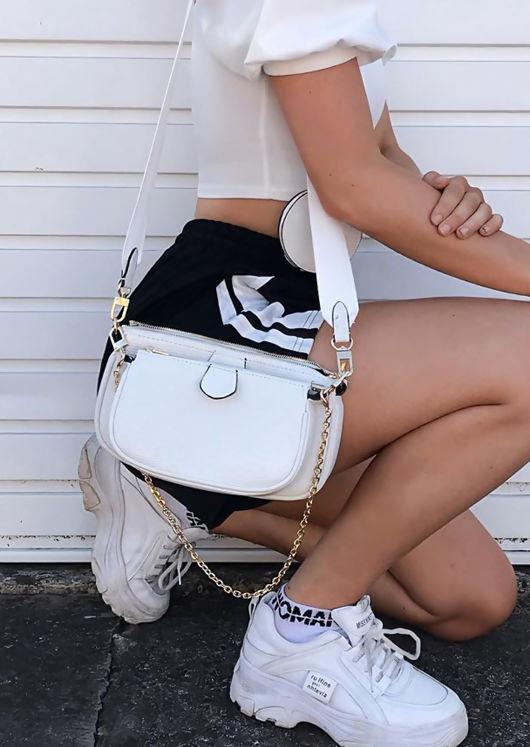 Trio Chain Cross Body Bag White