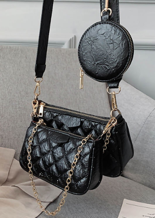 Trio Chain Quilted Crinkle Cross Body Bag Black