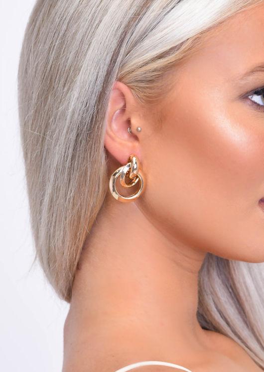 Triple Hoop Drop Earrings Gold
