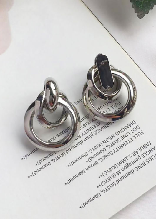 Triple Hoop Drop Earrings Silver