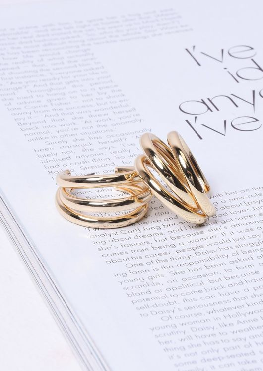 Triple Hoop Small Earrings Gold