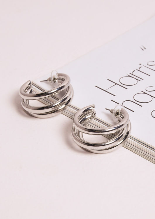 Triple Hoop Small Earrings Silver