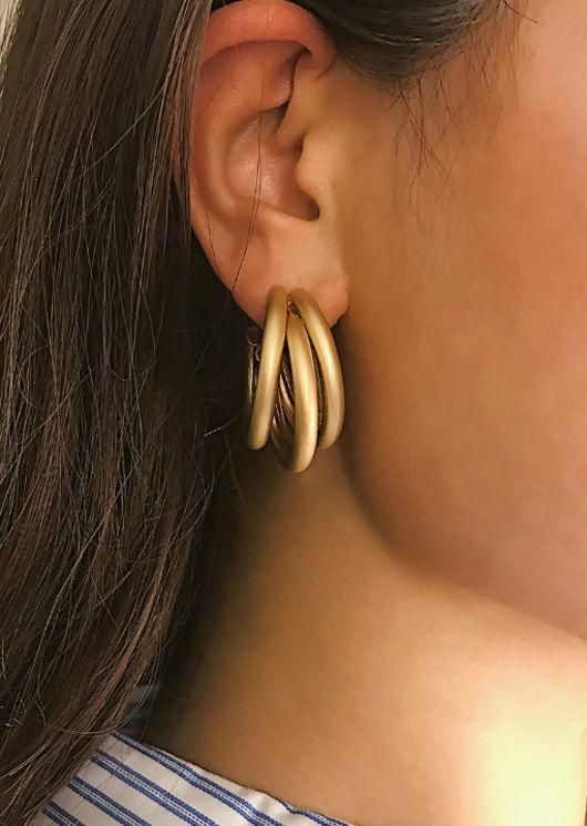 Triple Hoop Statement Earrings Gold
