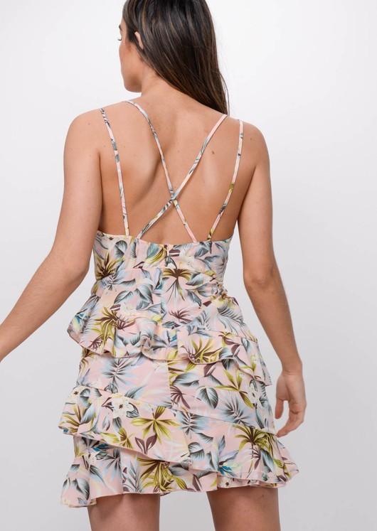 Tropical Print Frill Mini Dress Pink