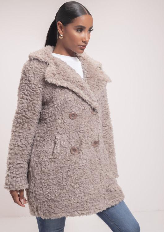 Longline Borg Teddy Coat Beige