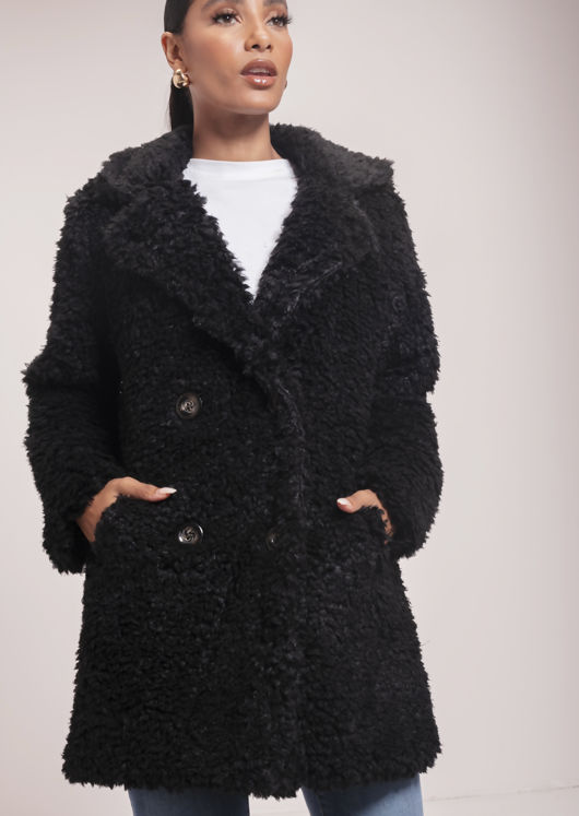 Longline Borg Teddy Coat Black