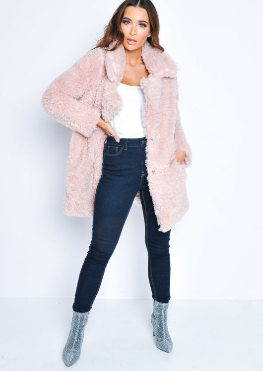 Trucker Borg Jacket Coat Pink