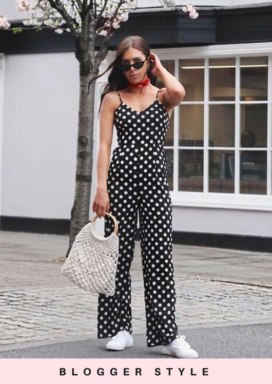 2b08456b07 Polka Dot Tie Back Jumpsuit Black