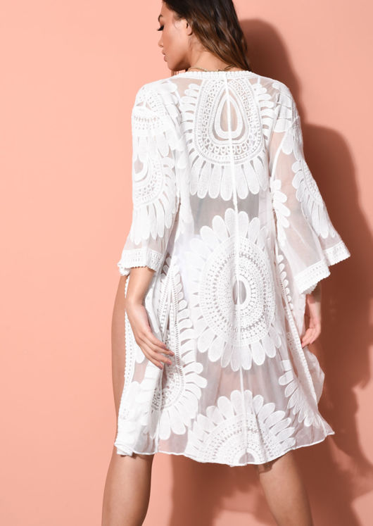 Tulle Crochet Cover Up Kimono White