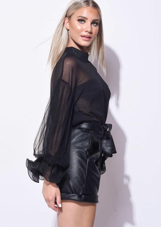 Tulle Frill Sleeve Sheer Shirt Black