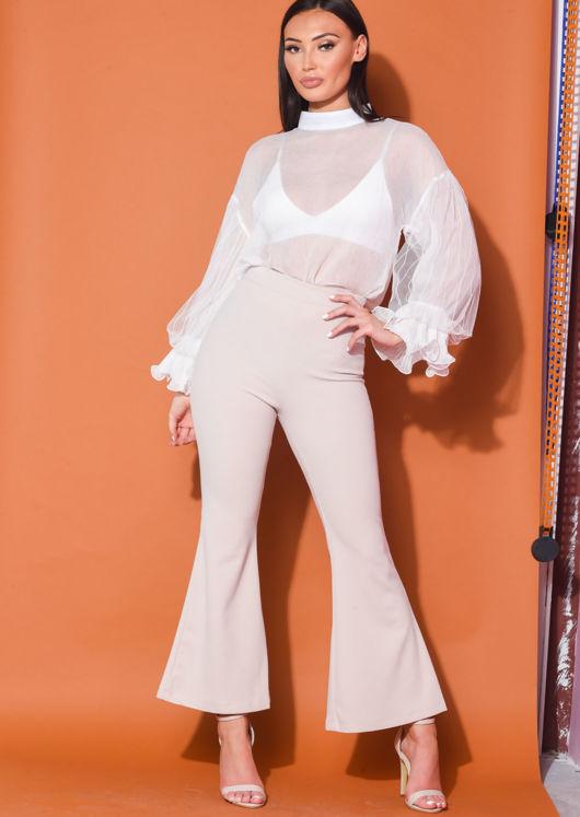 High Neck Tulle Frill Sleeve Sheer Shirt White