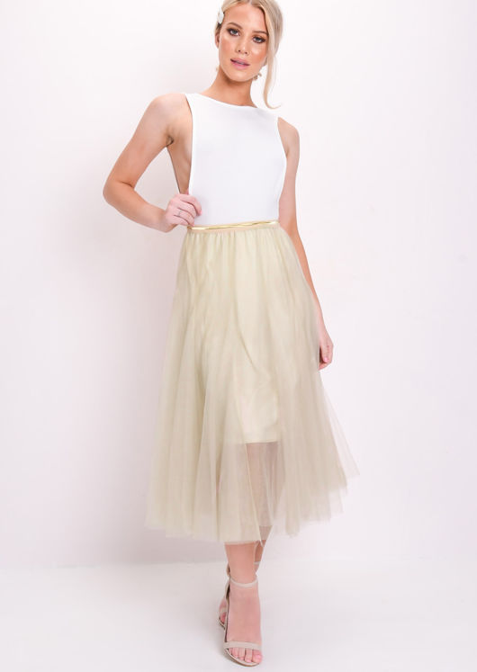 Tulle Gold Detail Midi Skirt Beige