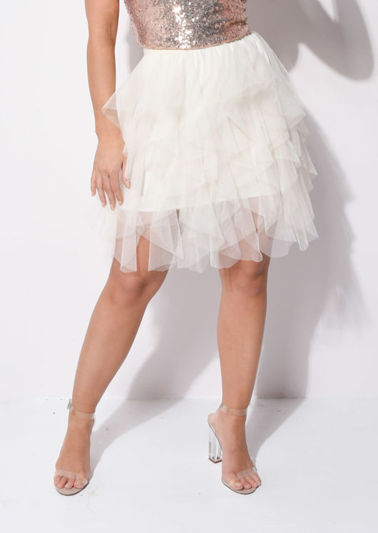 Tulle High Waisted Tiered Mini Skirt Beige
