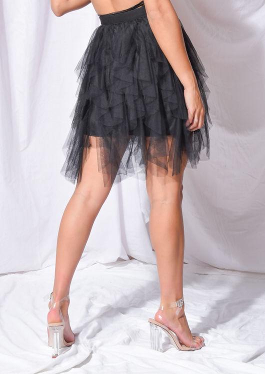 Tulle High Waisted Tiered Mini Skirt Black