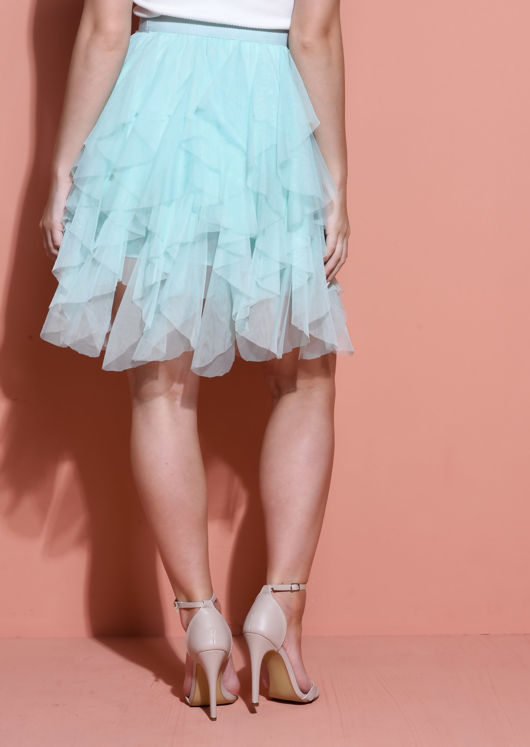 Tulle High Waisted Tiered Mini Skirt Mint Green