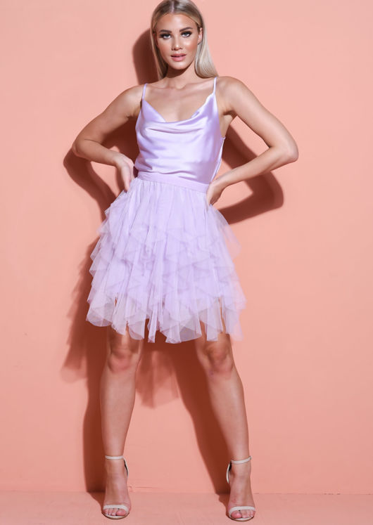 Tulle High Waisted Tiered Mini Skirt Lilac Purple