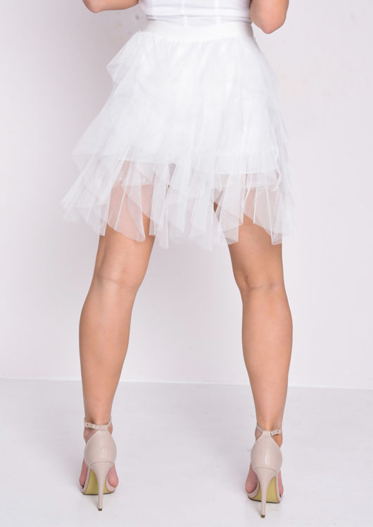 High Waisted Layered Tulle Ruffle Short Skirt White