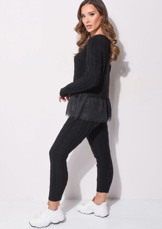 Tulle Mesh Hem Cable Knitted Loungewear Co Ord Set Black