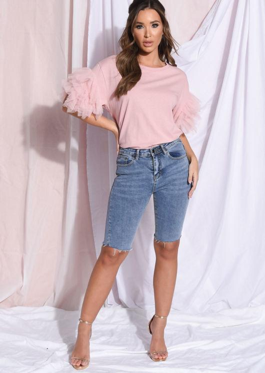 Tulle Net Frill Short Sleeve T Shirt Top Pink