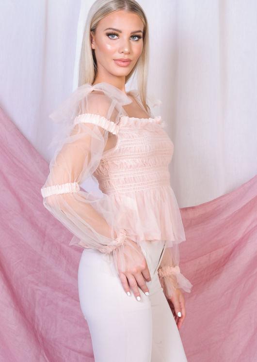 Tulle Tie Strap Off Shoulder Shirred Crop Top Pink