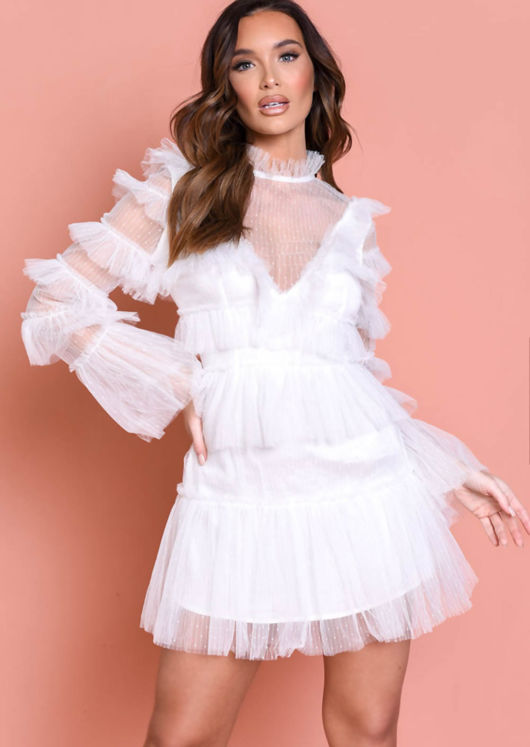 Tulle Tiered Frill Detail Long Sleeve Mini Dress White