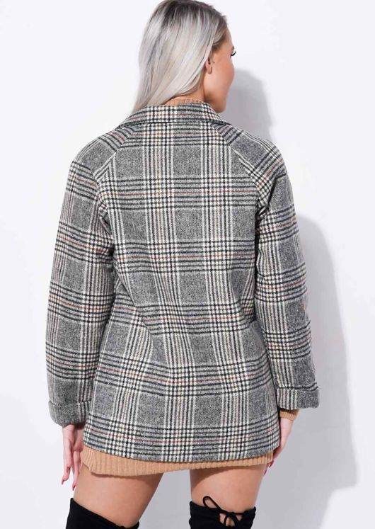 Double Breasted Checked Button Blazer Jacket Beige