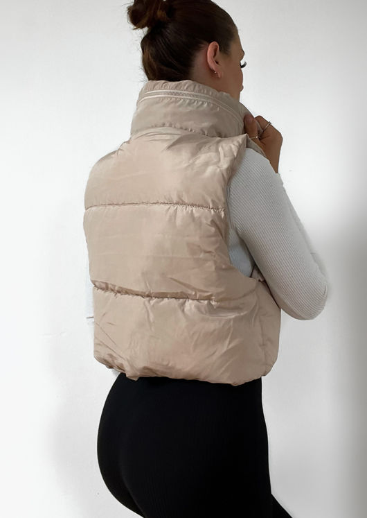 Fold Away Hooded Sleeveless Padded Cropped Puffer Gilet Beige
