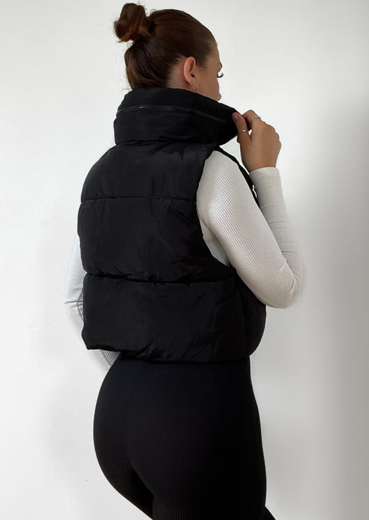 Fold Away Hooded Sleeveless Padded Cropped Puffer Gilet Black