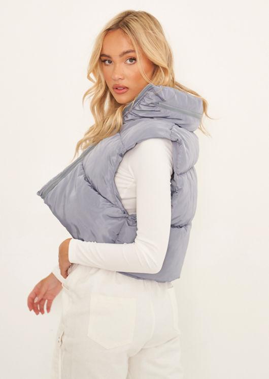 Fold Away Hooded Sleeveless Padded Cropped Puffer Gilet Grey