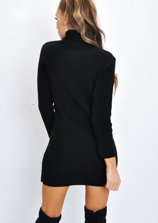 Turtleneck Knit Bodycon Jumper Dress Black