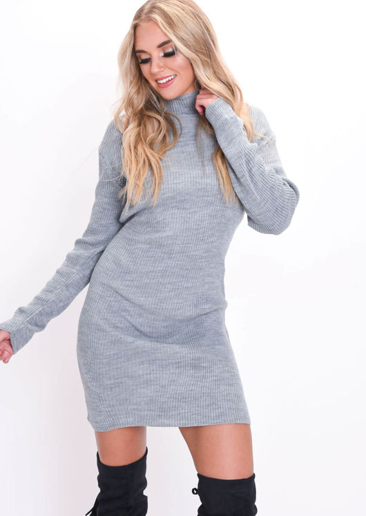 Turtleneck Knit Bodycon Jumper Dress Grey