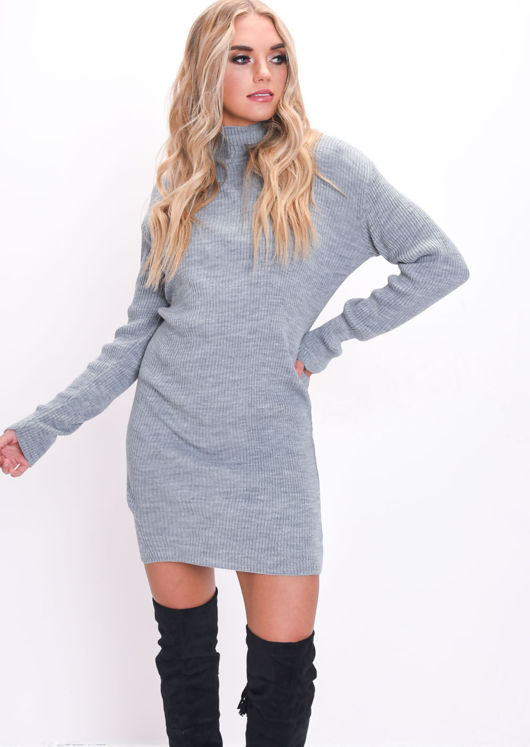 Turtleneck Knit Bodycon Dress Jumper Grey Lily Lulu