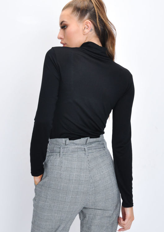 Turtleneck Long Sleeve Stretch Top Black